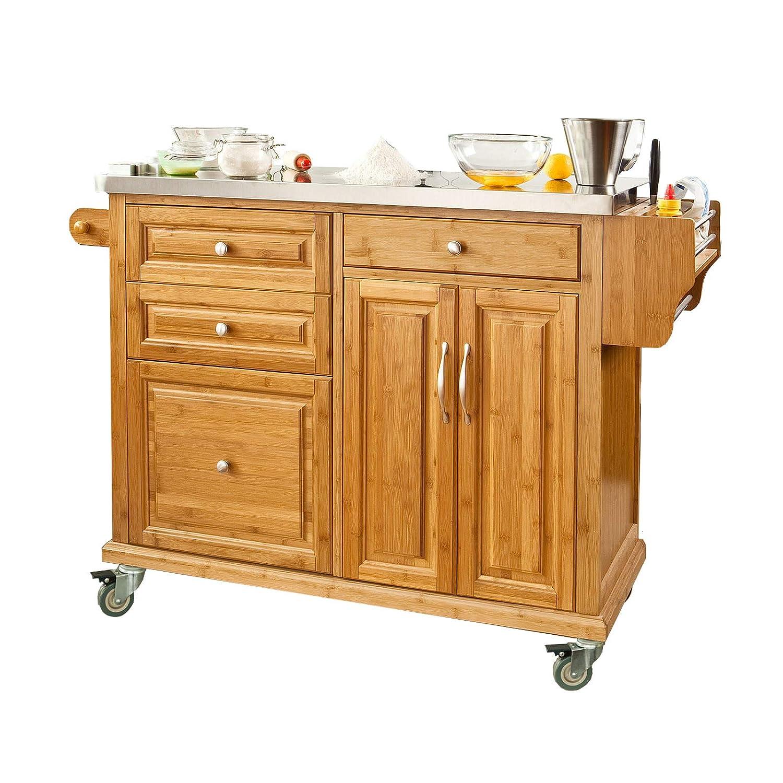 SoBuy Luxus-Küchenwagen aus hochwertigem Bambus mit ...
