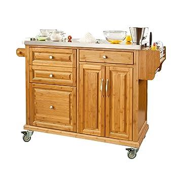 SoBuy® Luxus-Küchenwagen aus hochwertigem Bambus mit ...