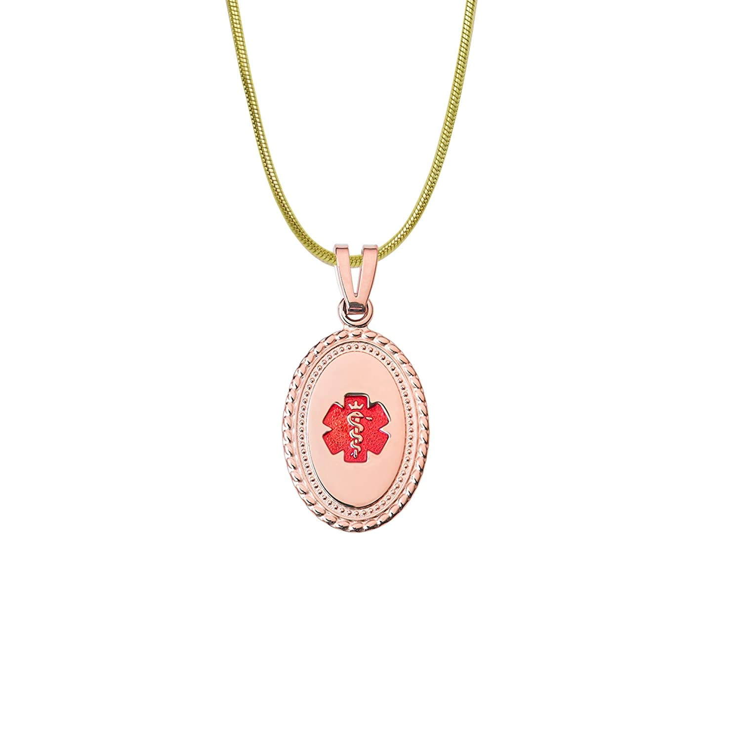 24 Stainless 2.0mm-PVD Gold Snake Chain-TP Red Divoti Deep Custom Laser Engraved PVD Rose Gold Disc 316L Medical Alert Necklace