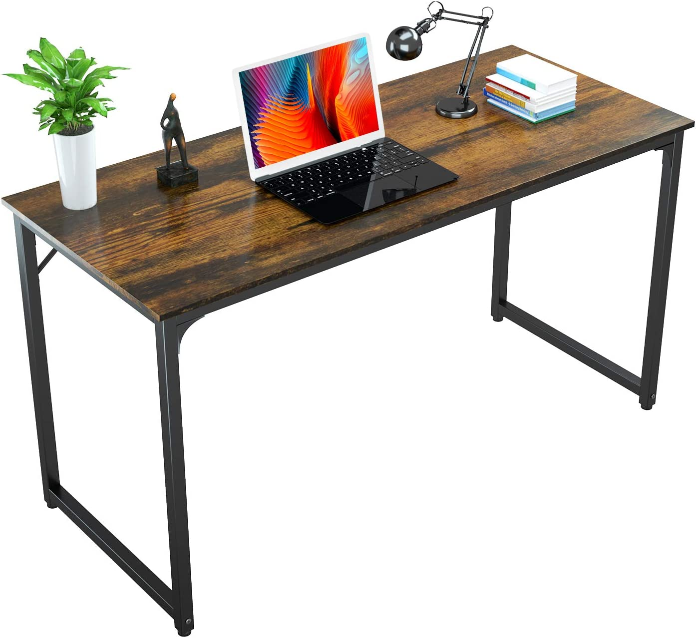 Foxemart Writing Computer Desk Modern Sturdy Office Desks PC Laptop Notebook Simple Study Table for Home Office Workstation, Rustic Brown