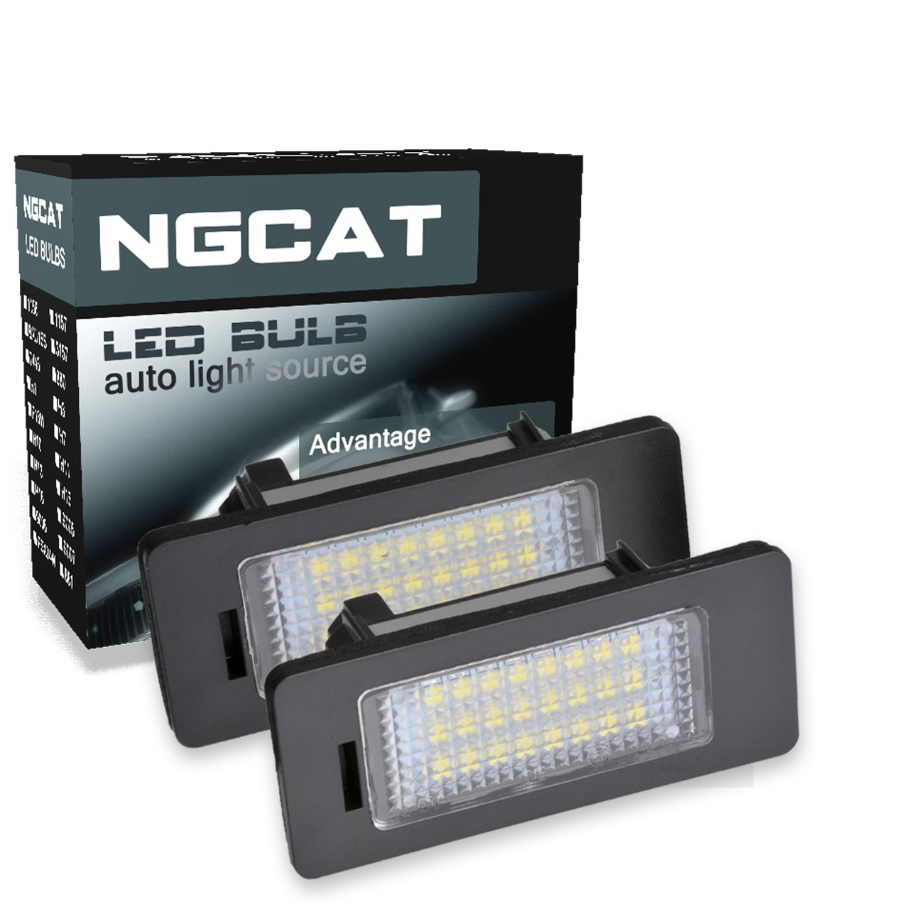ngcat LED 3528 24 SMD Bombilla licencia número placa lámparas de luz para Canbus (Pack de 2)