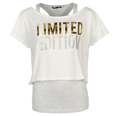 e338bb7ea Golddigga Double Layer T-Shirt Womens Ecru/Grey Casual Fashion Top Tee  Shirt UK 12 (Medium): Amazon.co.uk: Clothing