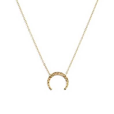 14ef959cf5c722 Fettero Necklace for Women Dainty Handmade 14K Gold Fill Carved Half  Crescent Moon Pendant Minimalist Chain