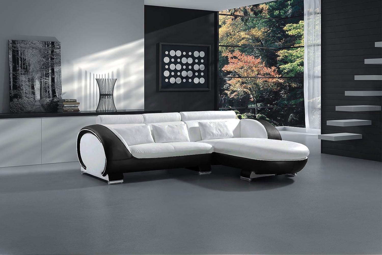SAM® Ecksofa Vigo Combi 1 242 x 181 cm Weiß Weiß Schwarz rechts Polsterecke Wohnzimmer Couch Sofa Auslieferung durch Spedition bereits montiert