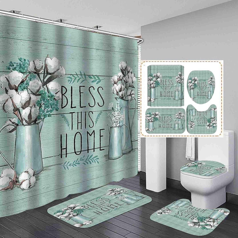 Fashion_Man 4PCS/Set Rustic Cotton Flower Shower Curtain, Waterproof Fabric Bath Curtain, Olive Leaf Farm Floral on Rustic Panel Bathroom Set Non-slip Bathroom Mat Bath Mat Toilet Rug, BLESS THIS HOME