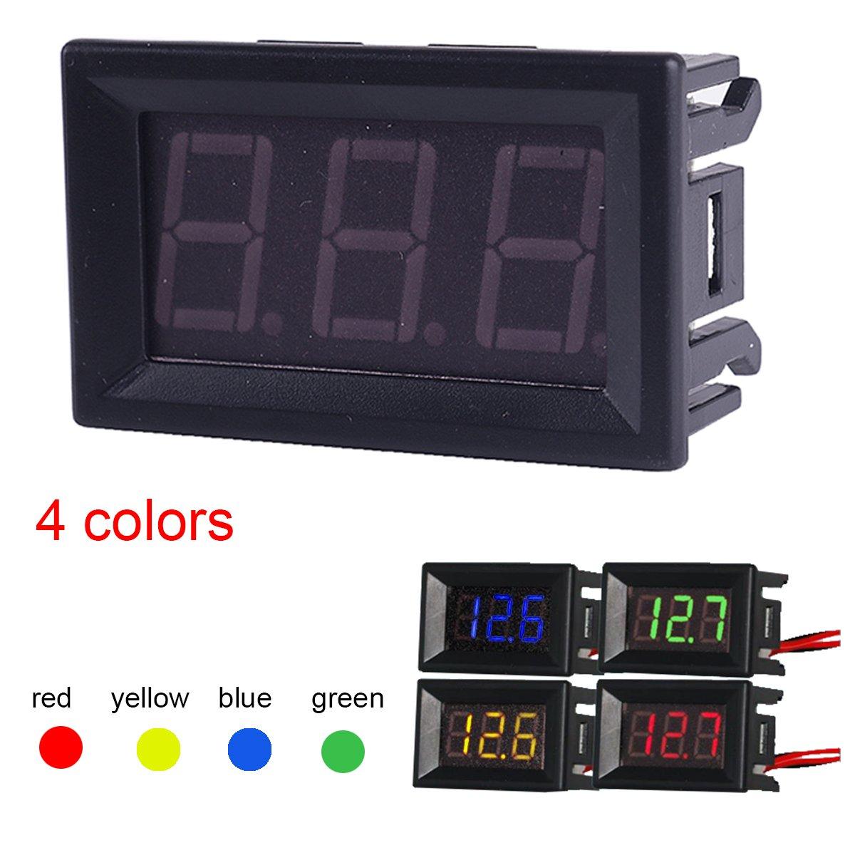MakerHawk 4 st/ücke Digital DC Voltmeter 0,56 Zoll Zwei-zeilen 2,5-30 V Digital Voltmeter Messger/ät Tester Led-anzeige Verpolungsschutz und Genaue Druckmessung 4 Farben