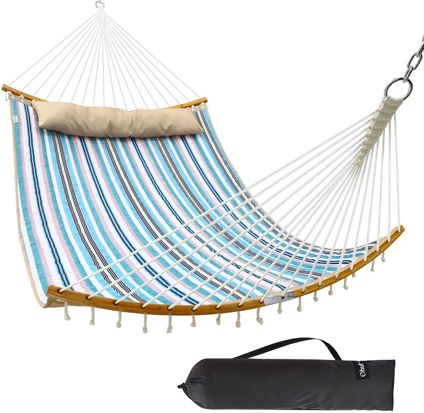"Ohuhu Double Hammock Quilted Fabric Swing with Strong Curved-Bar Bamboo & Detachable Pillow, 55""x75"" Large Hammocks with Carrying Bag, 4.6'W x 6.2'L, Blue & White Stripe : Garden & Outdoor"
