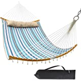 "Ohuhu Double Hammock Quilted Fabric Swing with Strong Curved-Bar Bamboo & Detachable Pillow, 55""x75"" Large Hammocks with Carr"