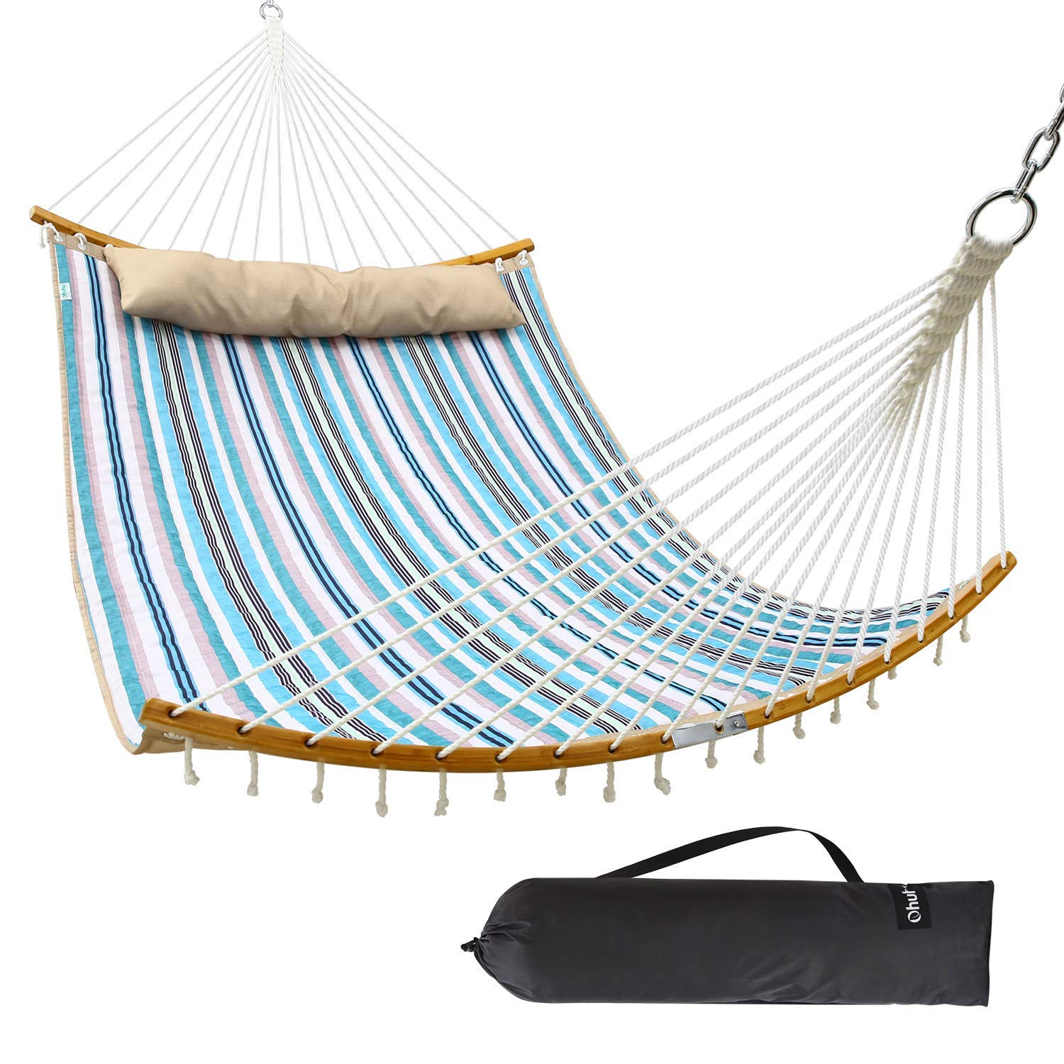 Ohuhu Double Hammock Quilted Fabric Swing with Strong Curved-Bar Bamboo Detachable Pillow, 55 x75 Large Hammocks with Carrying Bag, 4.6 W x 6.2 L, Blue White Stripe