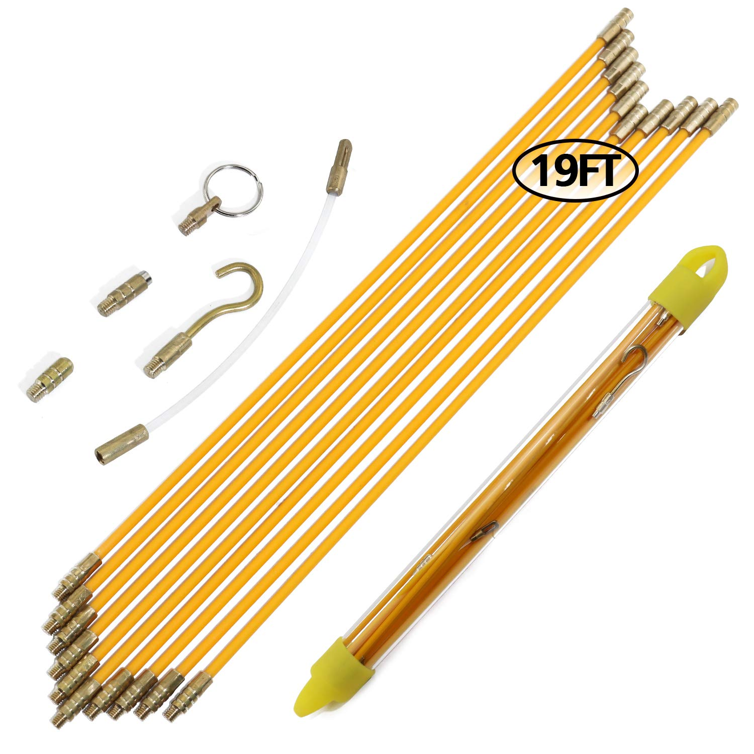 Boeray 11 Fiberglass Running Electrical Wire Cable Pulling Fish Tape kit with 5 different attachments in a Carrying Case