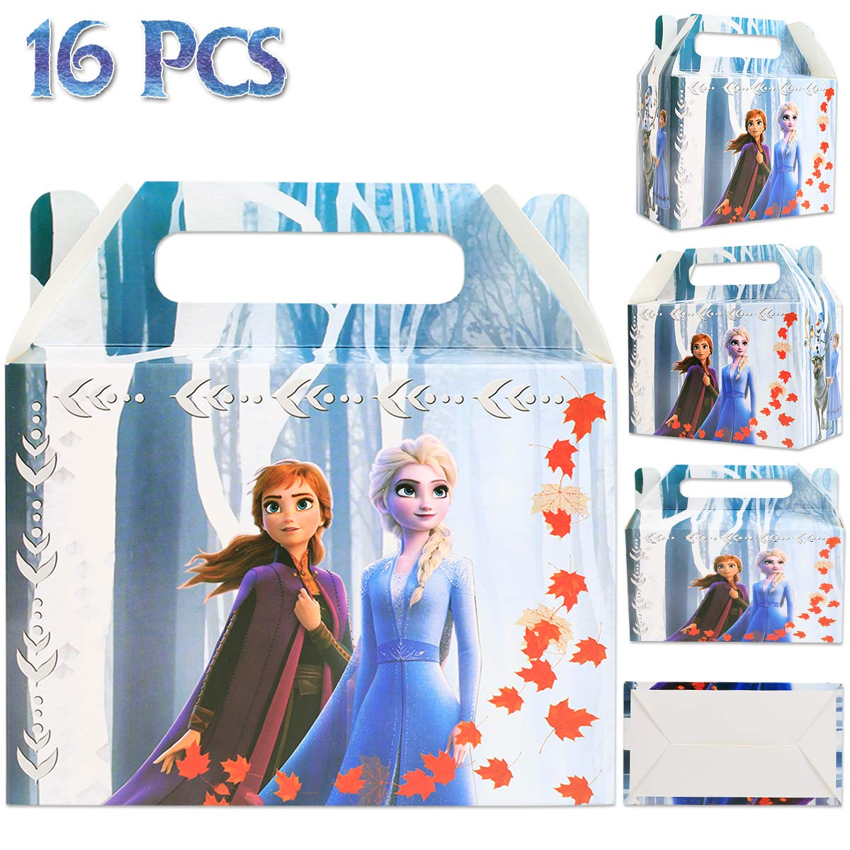 Frozen Birthday Party Supplies Favors Decorations, (16 Pcs) Gift Bags, Goodie Bags for Princesses Theme Decor, for Classroom Rewards Carnival Prizes Set Gifts for Kids Girls