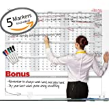 """Dry Erase Extra Large Yearly Wall Calendar - 38"""" x 58"""" - Blank 2017 Annual Office Planner - Reusable Academic Project Scheduling - Jumbo Undated 12 Month Calendar - Laminated Oversized Monthly Routine"""