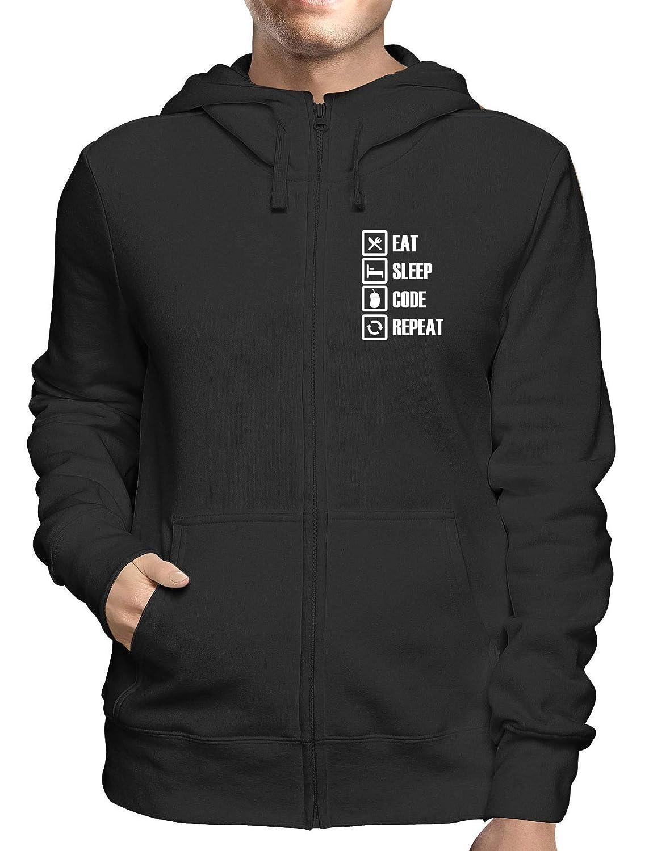 T-Shirtshock Felpa Cappuccio e Zip Uomo Nera GEN0107 Eat Sleep Code Repeat