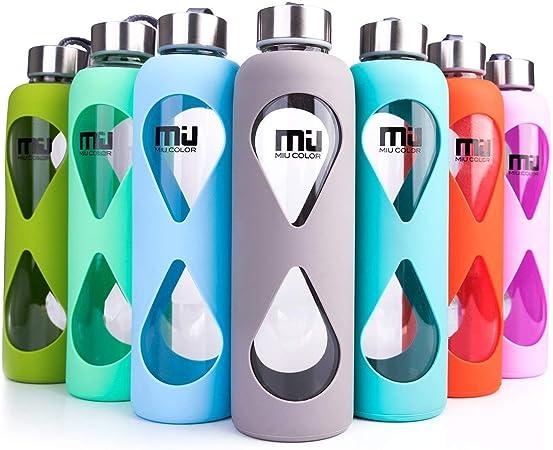 Botella de agua de vidrio de borosilicato, de Miu Color ...