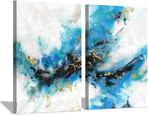 Abstract Painting Blue Artwork Picture Hand Painted Canvas Wall Art for Bedroom 36 x 24 x 2 Panels