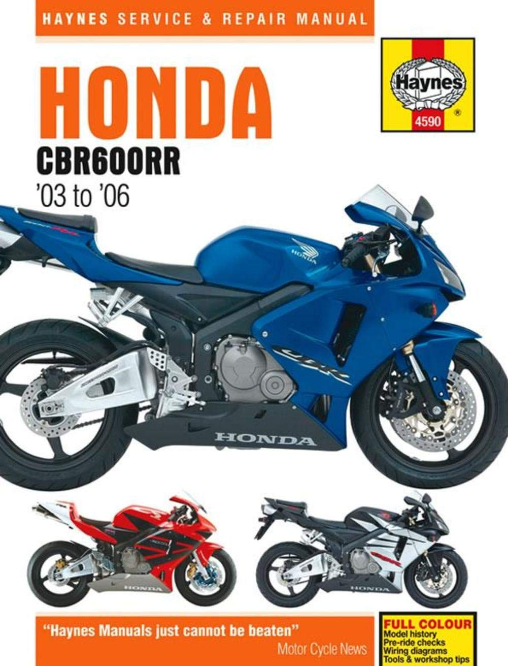 03 06 Honda Cbr600rr Haynes Repair Manual Automotive Cbr F4 1999 Wiring Diagram