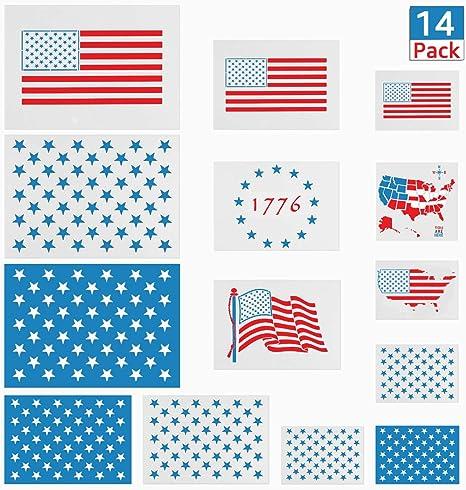 Amazon De 14 Stuck Schablonen Mit Amerikanischer Flagge