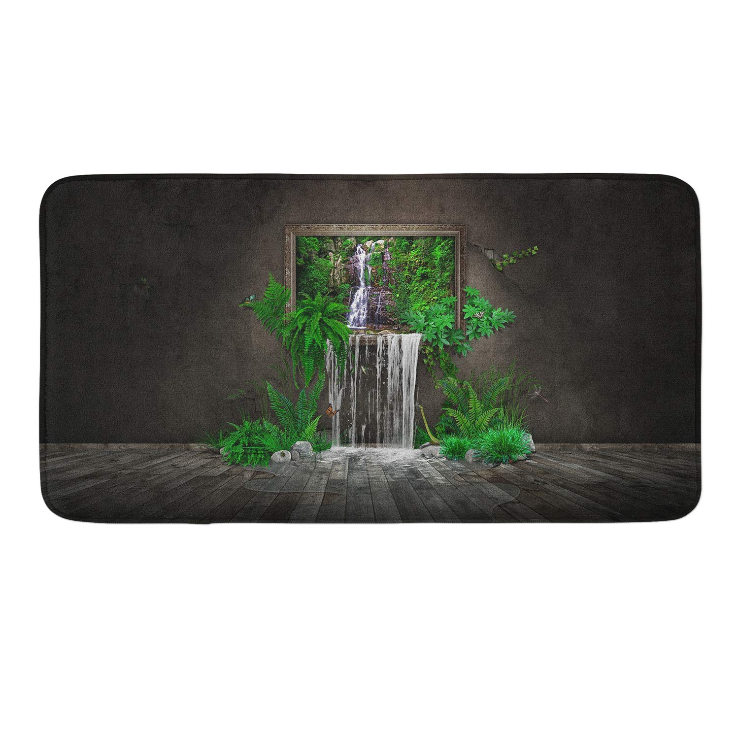 CIGOCI Anti-Slip Memory Foam Bath Mat - 18 x 36 Inch, Extra Absorbent,Soft,Duarable and Quick-Dry Shaggy Mat, 3D PrintWaterfall