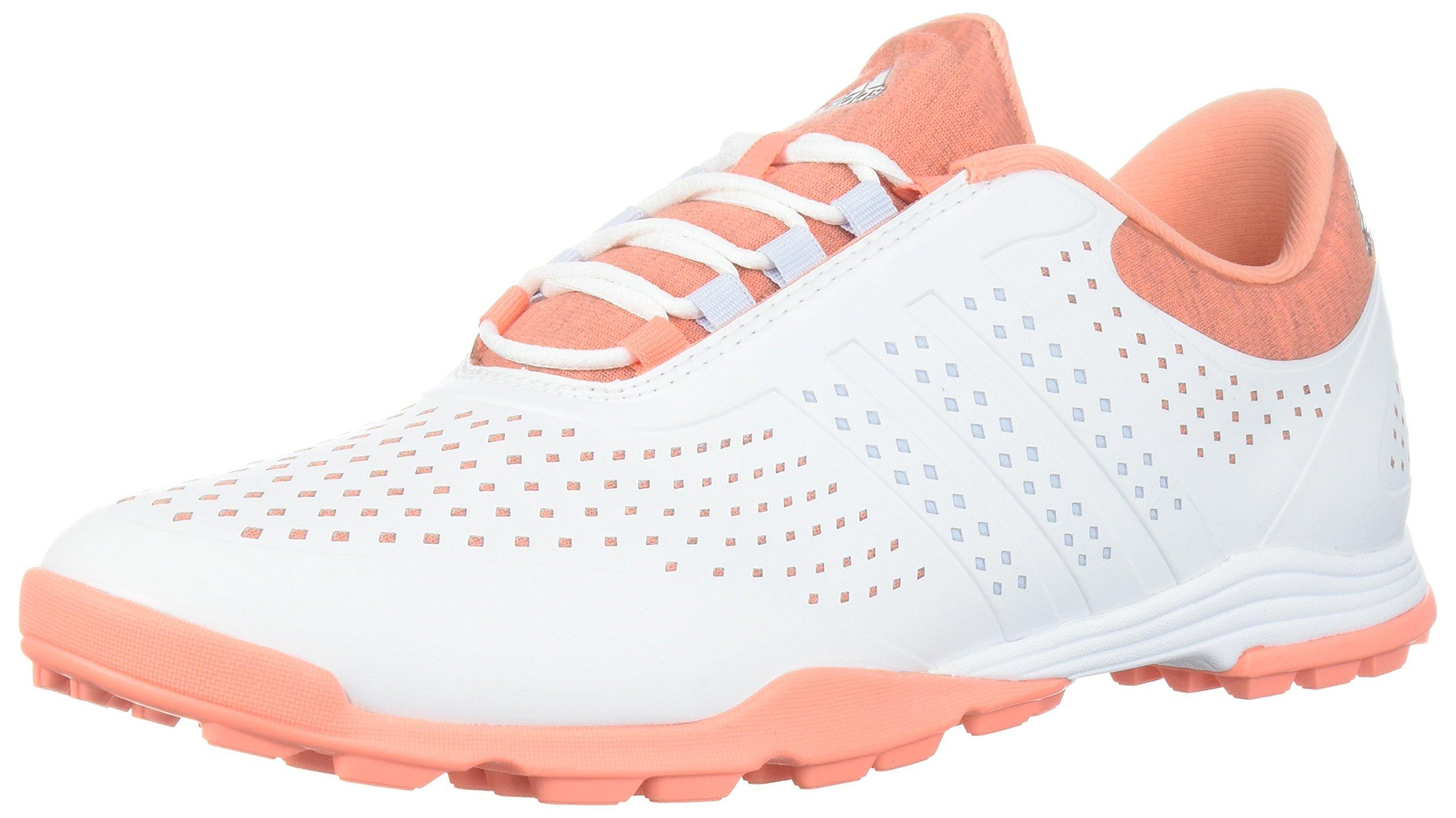 adidas Women's Adipure Sport Golf Shoe, White/Aero Blue/Chalk Coral, 5 Medium US