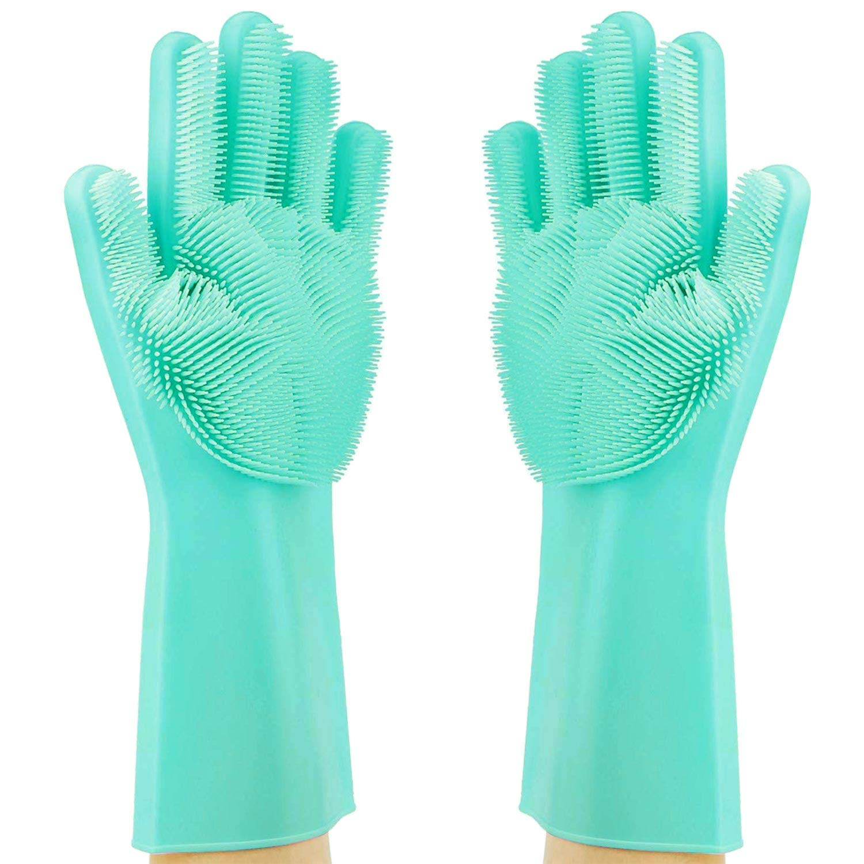 Magic Dishwashing Cleaning Sponge Gloves Reusable Silicone Brush Scrubber Gloves Heat Resistant for Dishwashing Kitchen Bathroom Cleaning Pet Hair Care Car Washing Green