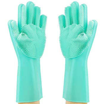 MITALOO Silicon Scrubber Dishwashing Gloves