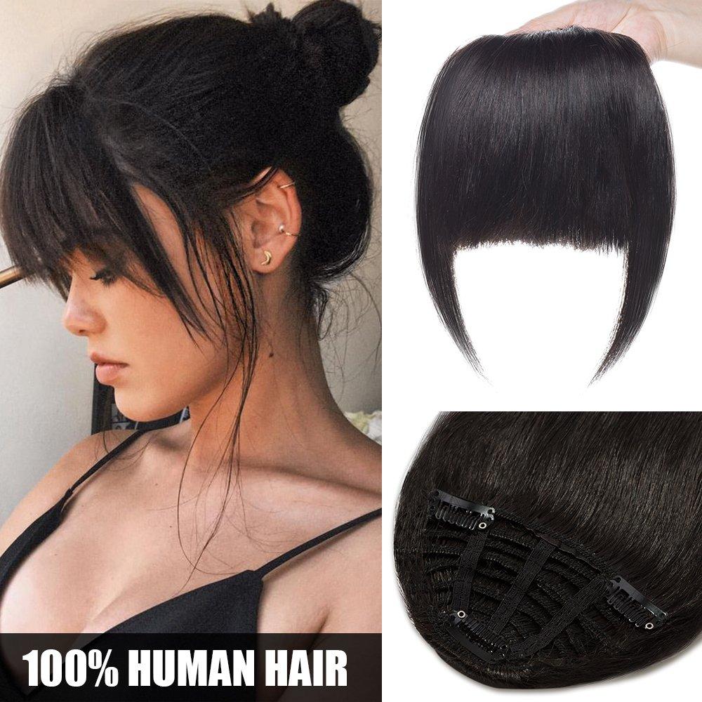 Extension Frangia Capelli Veri Clip #6 Castano - Frangetta 100% Remy Human Hair Lisci Umani One Piece Hair Bang Fringe Fascia Unica 25g Elailite