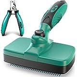 Ruff 'N Ruffus Self-Cleaning Slicker Brush + FREE Pet Nail Clippers | UPGRADED PAIN-FREE BRISTLES | Cat Dog Brush Grooming Ge