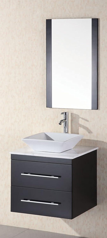 Design Element Elton Wall Mount Single Vessel Sink Vanity With Carrera  White Marble Countertop, 30 Inch     Amazon.com