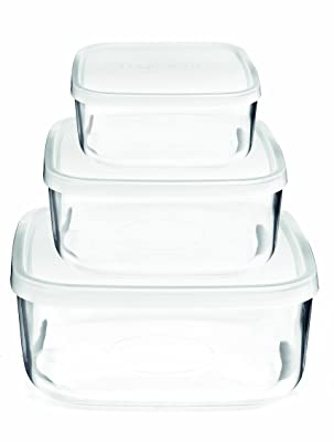 Bormioli Rocco Frigoverre Square Glass Food-Storage Containers With Lids
