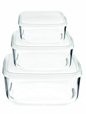 Amazoncom Bormioli Rocco Frigoverre Square Glass FoodStorage - Kitchen storage boxes