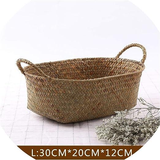 Seaweed Basket Handmade Straw Storage Box Decorative Woven Organizer Home