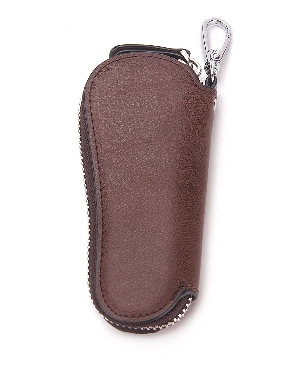 Contacts Mens Genuine Leather Car Key Holder Zipper Case Wallet Keychain Bag