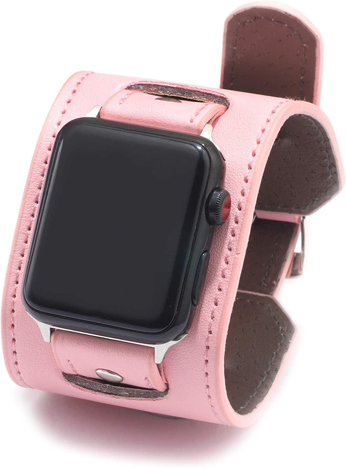 NIGHTCRUZ Compatible with Leather Apple Watch Band - Wide Leather Adjustable Bracelet for Apple Watch Series 5/4/3 (Pink, 38mm/40mm)