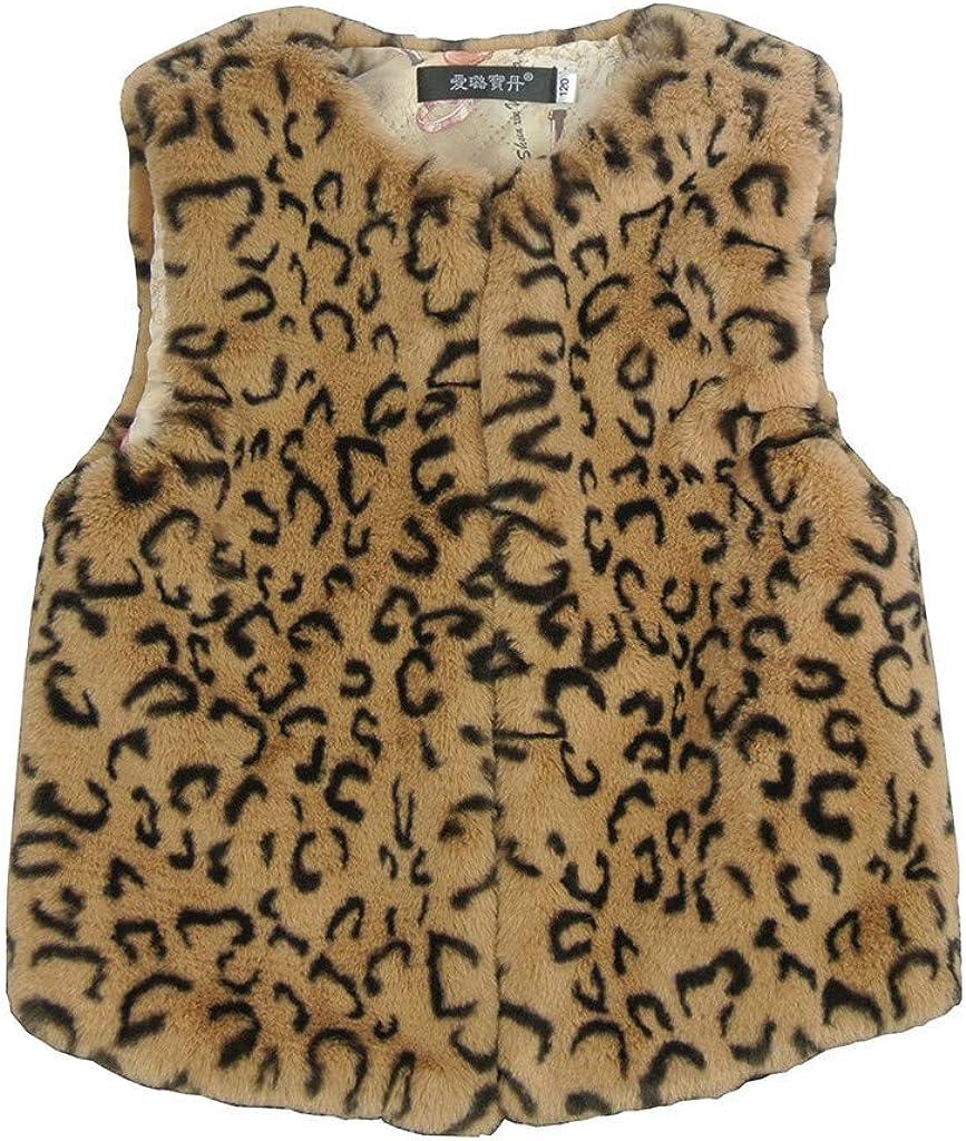 Baby Kinder M/ädchen Kunstpelz Weste Leopard Pl/üsch Faux Fur Westen Girls Winter Warme /Ärmellos Strickjacke Winterjacke Sch/ön Mode Weste Coat Mantel Outwear Mehrere Stile 90-140