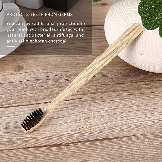 WXGY Cepillo de Dientes Hecho a Mano Mango de bambú Cerdas de carbón de leña Cepillo blanqueador Oral Dental Care (Paquete de 4): Amazon.es: Hogar