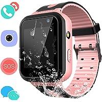 Smartwatch IP67 Impermeable para niños con GPS rastreadores Relojes Inteligentes al Agua Teléfono con AGPS/LBS SOS Cámara Juegos de Chat de Voz para niños niñas (Rosa)