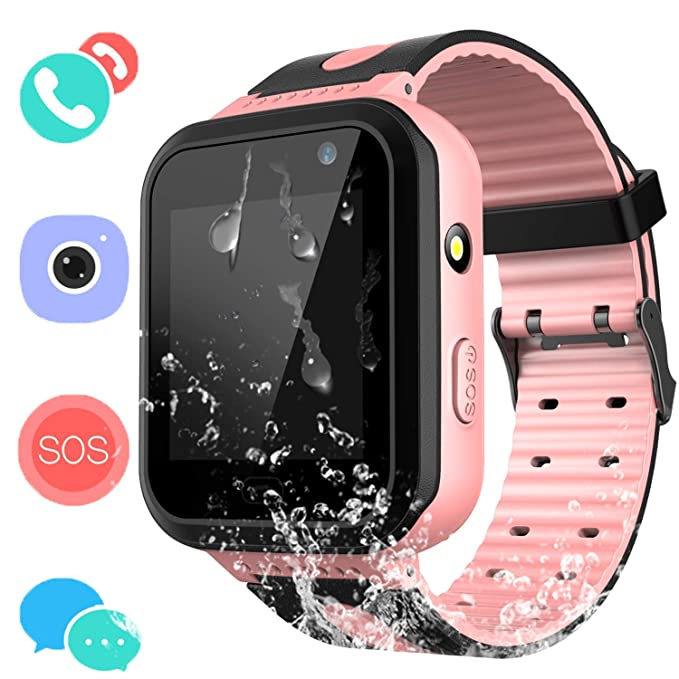 SZBXD Kids Waterproof Smartwatch with GPS/LBS Tracker - Boys & Girls IP67 Waterproof Smart Watch Phone with SOS Camera Anti-Lost Games for Back to ...