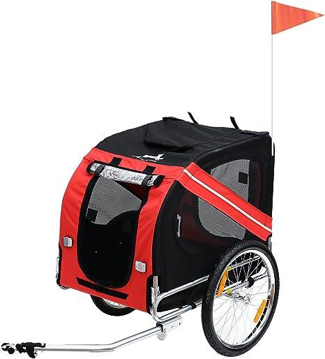 PawHut Remolque de Bicicleta para Perro Animales Plegable 8 ...