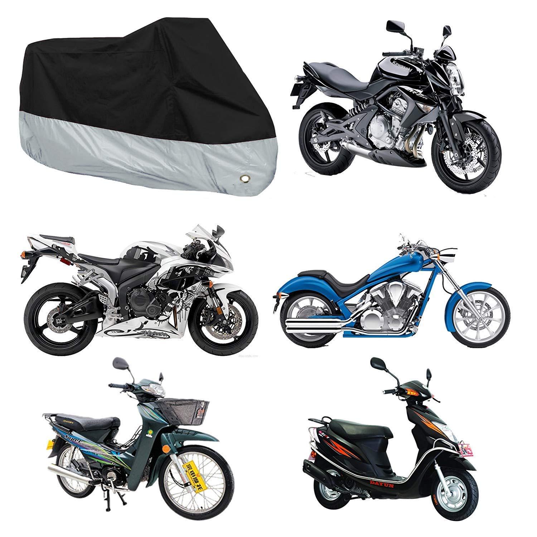 Plata,XXL Funda para Moto Impermeable Liyalo Cubierta de Motocicleta 190T Protectora Moto Scooter con Cepillos para Veh/ículos y Bolso del Almacenaje 245 x 125 x 105cm Anti-Polvo UV Lluvia Nieve