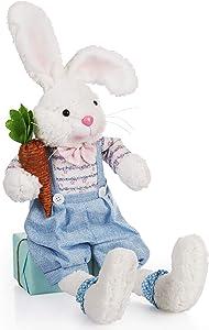 "Bunny Stuffed Animals 25"" Vintage Handmade Stuffed Bunny Plush Bunny Stuffed Animal (Blue Rabbit with Carrot)"