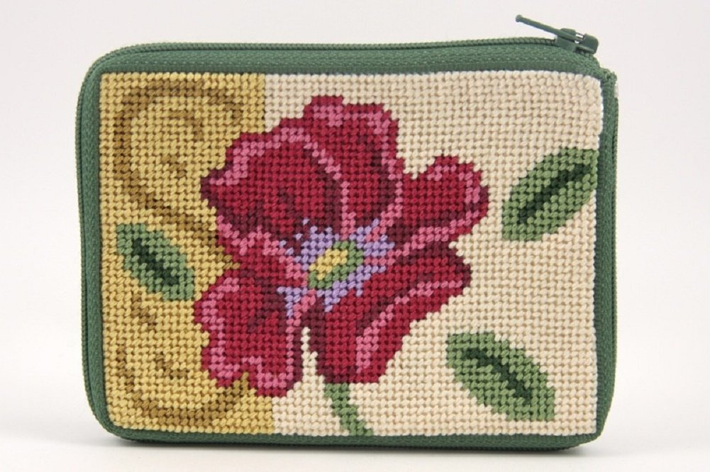 Needlepoint Kit Red Poppy On Gold Coin Purse