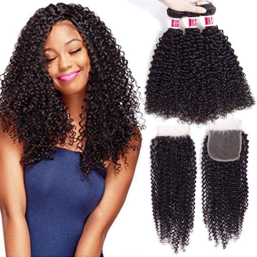 Wigirl Hair Unprocessed Brazilian Curly Virgin Human Hair Weave 3 Bundles with Free Part Lace Closure Natural Color (20 22 24 with 18 Free Part)
