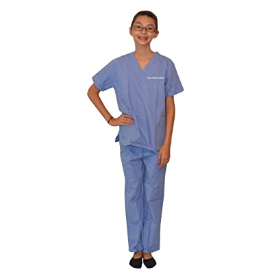 My Little Doc Personalized Kids Scrubs Ceil Blue: Clothing