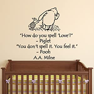 Wall Decals Nursery Winnie the Pooh How Do You Spell Love Classic Winnie The Pooh Wall Decal Quote AA Milne Children Kids Room Decor Q203