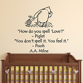 Wall Decals Nursery Winnie The Pooh How Do You Spell Love Classic Winnie  The Pooh Wall