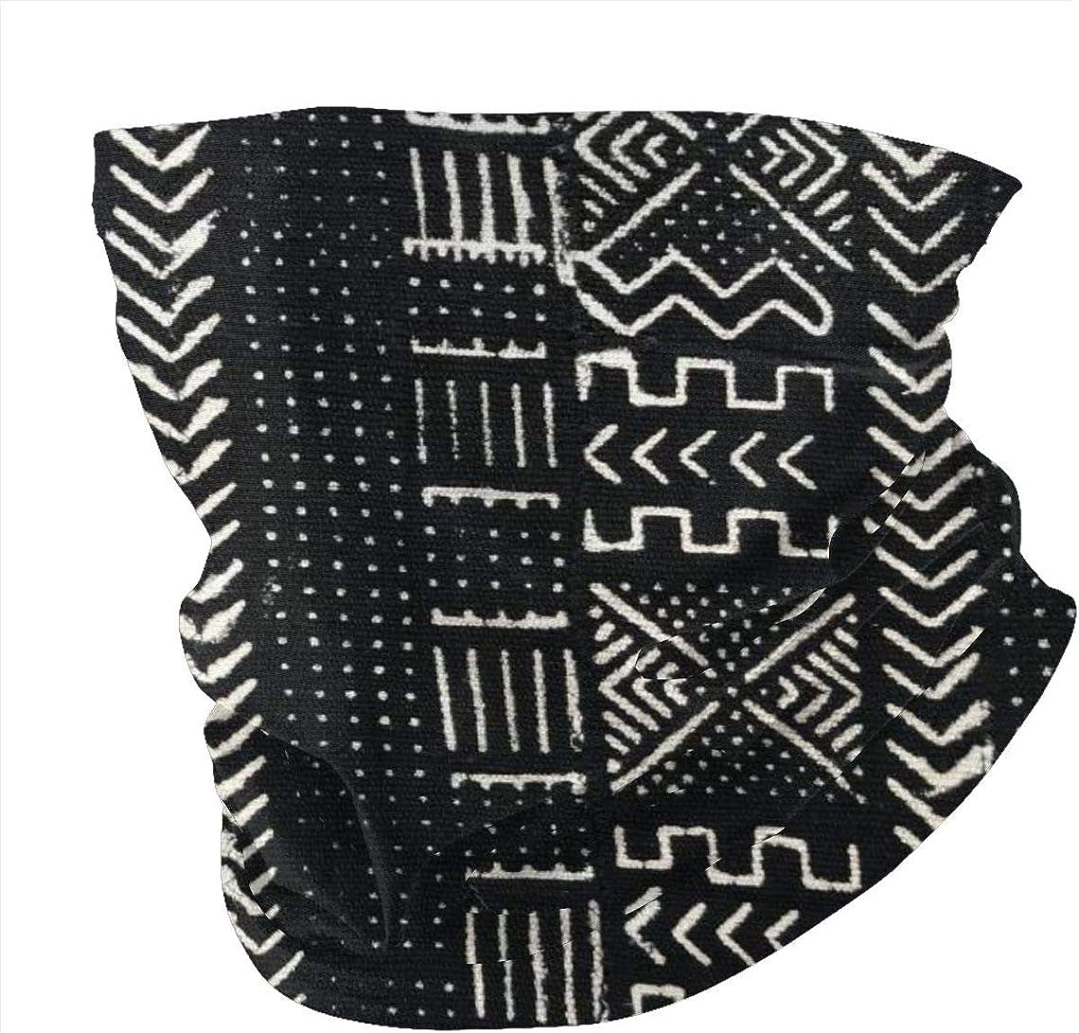 Seamless Quick Dry Breathable Outdoor UV Protection Harlem Mud Cloth Head Wrap Face Scarf Neck Gaiter Bandana Balaclava Black