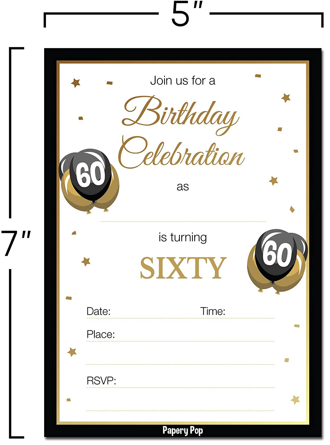 30 Count 60 Sixty Year Old Anniversary Party Celebration Invites Cards Papery Pop 60th Birthday Invitations with Envelopes