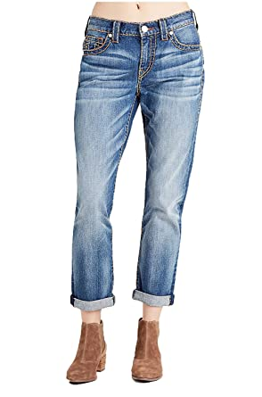 True Religion Womens Audrey Mid Rise Slim Boyfriend Super T Jeans In Blues Fest