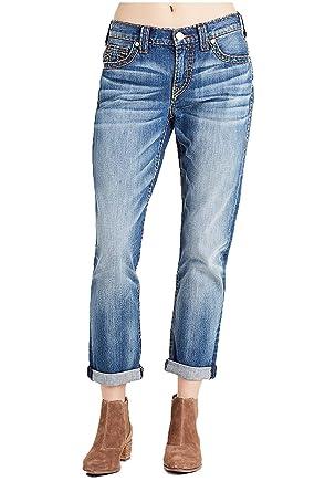 65672e461e575c True Religion Women's Audrey Mid Rise Slim Boyfriend Super T Jeans in Blues  Fest (23