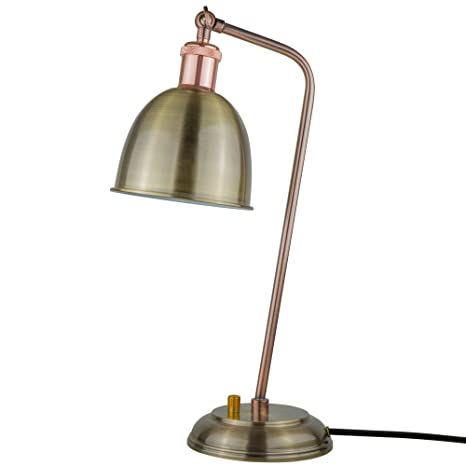 Starthi Antique Brass Table Lamp Industrial Dimmable Desk Light With Bronze  Adjustable Lamp Shade